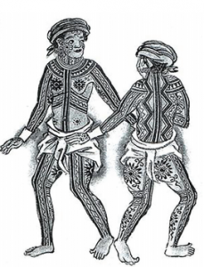 Depiction of the Visayan Pintados from boxer codex
